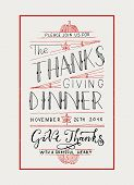Hand Drawn Thanksgiving Typography Invitation poster