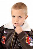stock photo of bomber jacket  - Boy wearing bomber jacket - JPG