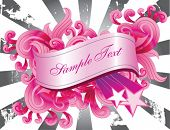 Pink banner and filigree over a burst background, vector