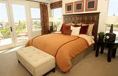Beautiful contemporary master bedroom in warm tones