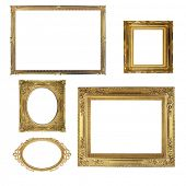 Antique gold frames isolated on white