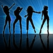 Girls dancing at a night club