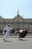 Marinera Dancers In Front Of The Goberment Palace In Lima Peru