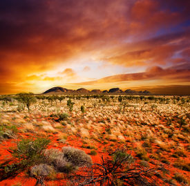 foto of landscapes beautiful  - Sunset over a central Australian landscape - JPG
