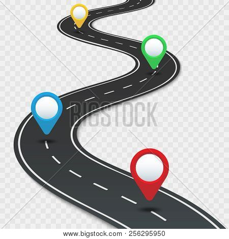 poster of Highway Roadmap With Pins. Car Road Direction, Gps Route Pin Road Trip Navigation And Roads Business