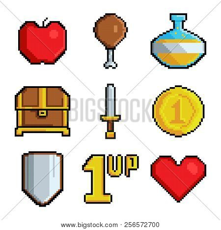 poster of Pixel Games Icons. Various Stylized Symbols For Video Games. Video Game 8 Bit Collection Icons, Styl