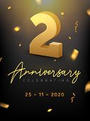 2 Years Anniversary Celebration Event. Golden Vector Birthday Or Wedding Party Congratulation Annive poster