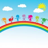 illustration of colorful happy kids standing on a rainbow