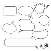 set of speech bubbles on white background