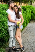 Man Bearded Hipster Hugs Gorgeous Girlfriend. Great Date Tips. Love Relations Romantic Feelings. Par poster