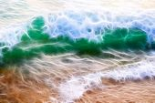 Fractal Background Texture. A Bright Green Wave. White Foam On The Crest Of The Wave. The Wave Is Vi poster