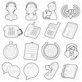 Call Center Items Icons Set. Outline Cartoon Illustration Of 16 Call Center Items Icons For Web poster