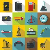 Oil Industry Items Icons Set. Flat Illustration Of 16 Oil Industry Items Icons For Web poster