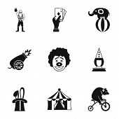 Concert In Circus Icons Set. Simple Illustration Of 9 Concert In Circus Icons For Web poster
