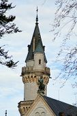 neuschwanstein castle tower between the trees