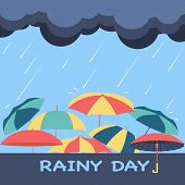 Rainy Season Background With Clouds, Raindrops And Umbrellas Vector Abstract For Rainy Day Theme. poster