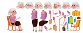 Old Woman Vector. Senior Person Portrait. Elderly People. Aged. Animation Creation Set. Face Emotion poster
