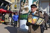 ZAGREB - MARCH 6: Jehovah witness selling religious literature on Ban Jelacic square on March 06, 20