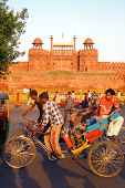 DELHI - SEPT 22: Cycle rickshaws at Red Fort on September 22, 2207 in Delhi, India. Rickshaws are th