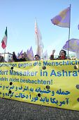 BERLIN - NOVEMBER 3: Iranian demonstrators in front of US embassy on Parizer Platz on November 3, 20