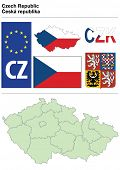 Czech collection including flag, plate, map (administrative division), symbol, currency unit & coat of arms
