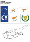 Cyprus collection including flag, plate, map (administrative division), symbol, currency unit & coat