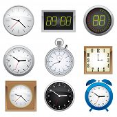 Clock set. Office, digital, timer, stopwatch, alarm.