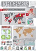 Info chart creative pack. Origami style set. Easy assembling elements for presentation and graph. Including world map, time zones map and set of business related icons