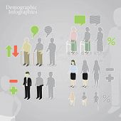 Demographic infographics. People icons including man, woman, old man, old woman and baby made in a d