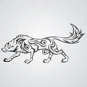 Vector image of tribal wolf tattoo