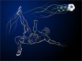 Illustration of a soccer player doing bicycle kick, with line-art and colorful lines