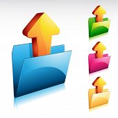 illustration of an upload folder icon, with color variations