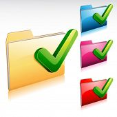 folder icon with check mark, with color variations