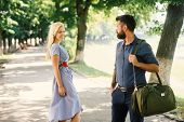 Love At First Sight Concept. Man And Woman Likes Each Other. Man With Beard And Blonde Girl Stopped  poster