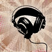 headphones on detailed grunge background