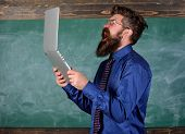 Annoyed By Slow Internet. Slowly Internet Annoying Him. Hipster Teacher Aggressive With Laptop Goes  poster