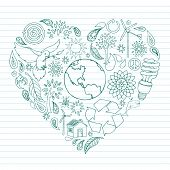stock photo of heart shape  - Environmental Doodles arranged in the shape of a heart - JPG