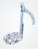 stock photo of drum-kit  - variety of hand drawn instruments makes up this musical note - JPG