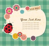 foto of greeting card design  - Vintage frame with Ladybird - JPG