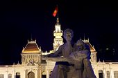 Statue Of Uncle Ho Chi Minh Front Of People'S Committee Building Saigon Vietnam
