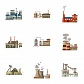 Production Plant Icons Set. Cartoon Illustration Of 9 Production Plant Icons For Web poster