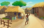 Indian Village life- Dwellers in Hut and a man walking