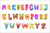 Colorful Cartoon Children English Alphabet With Funny Monsters. Education And Development Of Childre poster