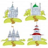 illustration of places of worship on isolated background