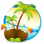 image of coco  - illustration of coconut cocktail with palm tree on tropical background - JPG