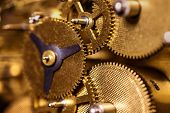Closeup From A Clockwork Machinery, Brassy Gears Or Cogs poster
