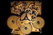 Topview, Inside View Of A Mechanical Clockwork Or Movement, Black Background poster