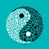 illustration of yin yang made of human palm on plain background