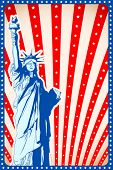 illustration of statue of liberty on american flag background