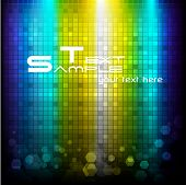 illustration of colorful disco background with square pattern